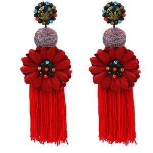Jewelry - Bohemian Flower Statement Drop Dangle Earrings